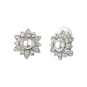 Traveller Clip Earrings - White pearls - Rhodium plated - 114202