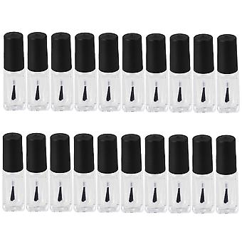 20 stuks 4ml lege glazen nagellak flessen blushers met zwarte doffe poolse dop