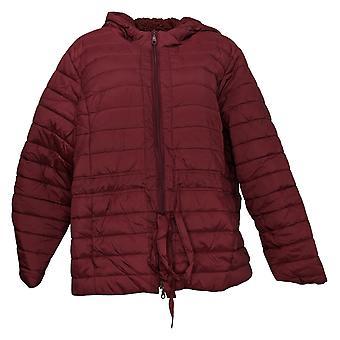 Denim & Co. Women's Jacket Cinched Waist Puffer W/ Lined Hood Red A389007