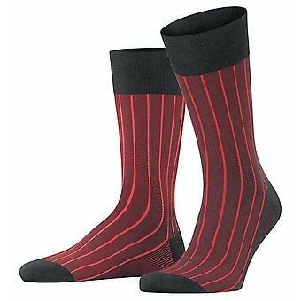 Falke Oxford Neon Socks - Anthracite Melange/Red