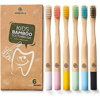 FengChun Bambus Zahnbrsten fr Kinder (6er Pack) | Holzzahnbrsten mit weichen Borsten |