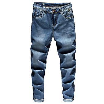 Mænds Straight Fashion Jeans vasket Denim Pant