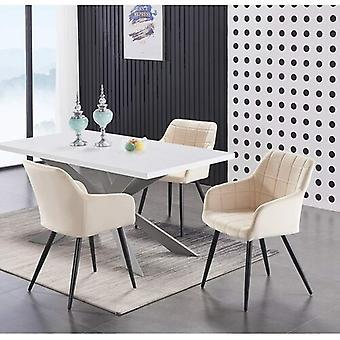 Lusso & Enzo Dining Set | Modern Dining Table | Velvet Dining Chair | Modern Set |  (white/grey & Cream)