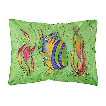 Caroline Schätze 8568Pw1216 tropischen Fisch auf grüne Leinwand Stoff dekorative Kissen, groß, mehrfarbig