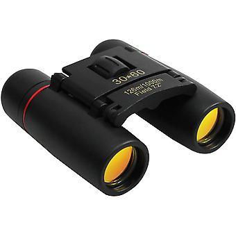 Kompaktowa i składana lornetka dla dorosłych i dzieci do obserwacji ptaków, polowania lub uprawiania sportu 30x60 (czarna)