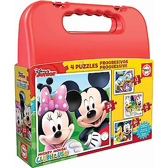 16505 - Koffer Progressive Puzzle, Mickey Mouse Club Haus, 4-er Set