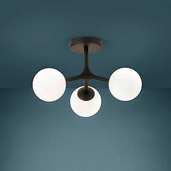 Eglo Stars Of Light Maragall Three Lamp Ceiling Light In Black With White Shades