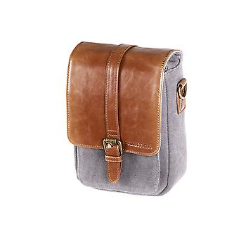 PRAKTICA Heritage Binocular Shoulder Case Bag Grey/Tan Canvas & PU Leather