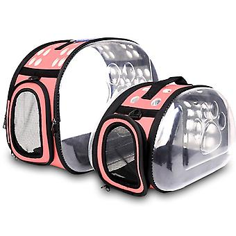 Skládací kočičí taška prodyšná přenosná taška pro domácí mazlíčky Venkovní cestovní kabelka pro cat dog transparentní prostor pet cestovní taška dvě velikosti