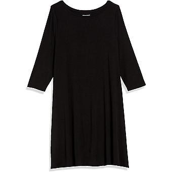 Essentials Damen Plus Größe 3/4 Ärmel Boatneck Kleid