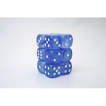 Chessex 16mm D6 Block of 12 - Borealis Sky Blue/white