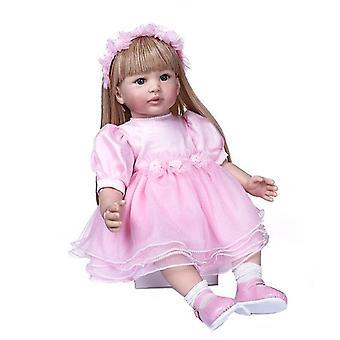 60Cm újjászületett kisgyermek lány hercegnő rózsaszín szoknya nagyon szép bebe baba újjászületett hosszú szőke haj baba karácsonyi ajándék