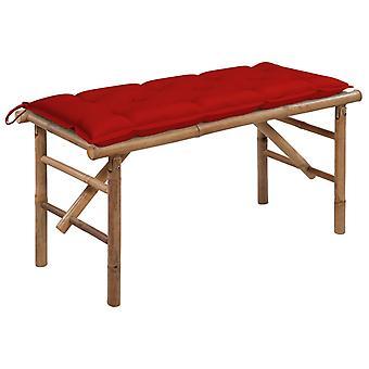 vidaXL Foldable garden bench with pad 118 cm bamboo