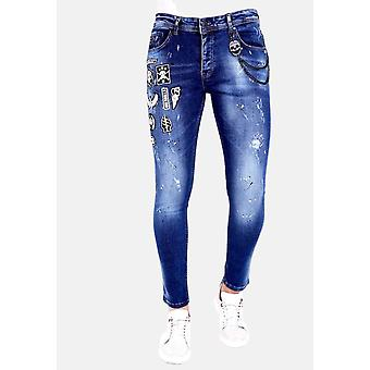 Jeans With Patches -1004 - Blue