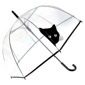 X-brella Womens/Ladies Clear Black Cat Birdcage Umbrella