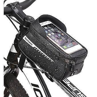 Mountain bike front beam bag, mobile phone waterproof saddle bag