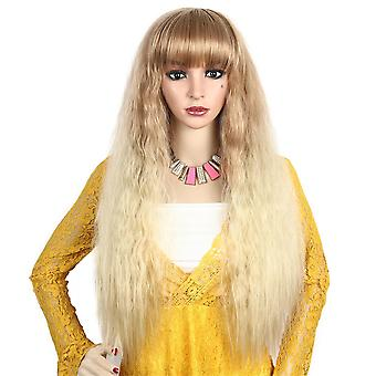 Synthetic Long Corn Curly Hair Ombre Blonde Heat Resistant Full Wigs For Women