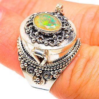 Suuri myrkky Faceted Etiopian opaali rengas koko 6 (925 Sterling Hopea) - Käsintehty Boho Vintage Korut RING75582