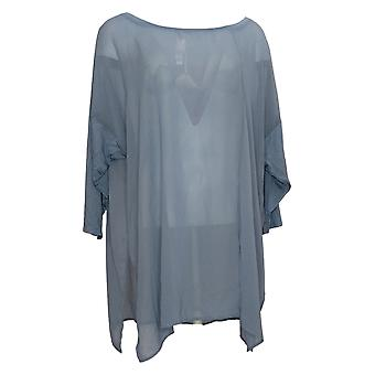 WynneLayers Women's Top Mixed Media Dolman-Sleeve Tunic Blue 694604