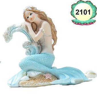 אקווריום בסגנון ים תיכוני קישוט בתולת ים נסיכה פסלון חדר שינה ביתי שולחן תפאורה