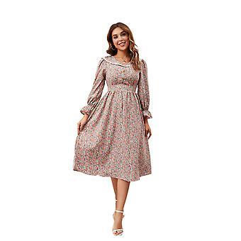 المرأة طويلة الأكمام Lapel اللباس ريترو الأزهار طباعة Bodycon ميدي فستان السيدات الخريف ارتداء اليومية