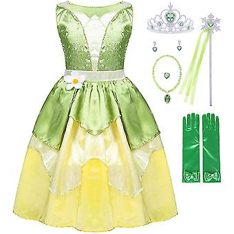 الأميرة تيانا زي هالوين Cosplay اللباس العفريت الأخضر خرافية زي الفتيات حزب اللباس