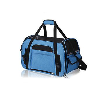 Haustierbedarf Atmungsaktive Mesh Einkaufstasche Haustier Tragetasche Oxford Stoff Blau 43 * 23 * 29cm