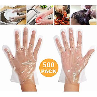500 штук Пластиковые одноразовые перчатки для приготовления пищи, одноразовые полиэтиленовые рабочие перчатки [один размер]