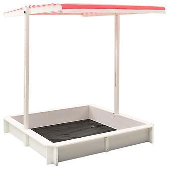 Bac à sable Chunhelife avec toit réglable sapin bois blanc et rouge Uv50