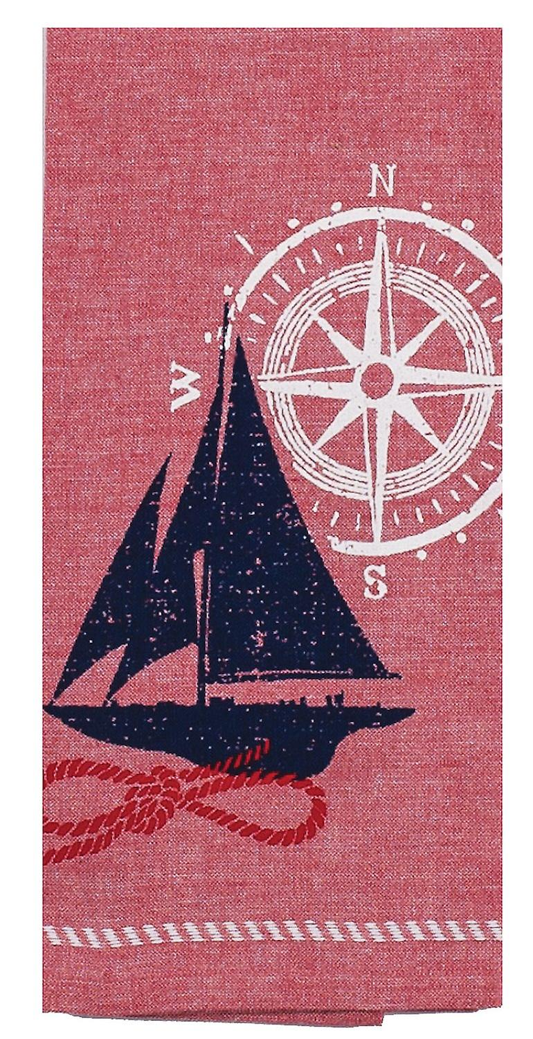 Natique Sailboat with Compass Red White Blue Tea Kitchen Dish Towel