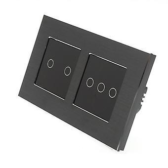 LumoS preto alumínio escovado duplo quadro 5 Gang 1 caminho remoto toque LED luz interruptor Insert preto