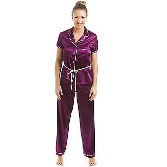 カミーユ暗い紫半袖ベルト サテン パジャマ セット