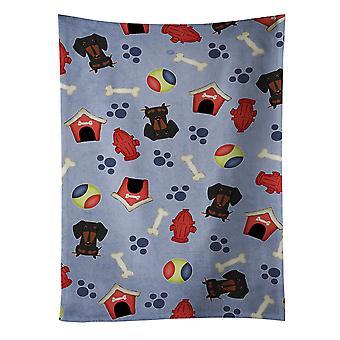 Dog House Collection Dachshund Black Tan Kitchen Towel