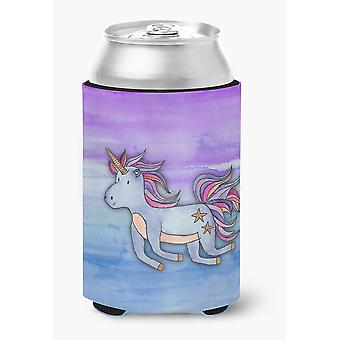 Carolines Treasures  BB7433CC Blue Unicorn Watercolor Can or Bottle Hugger