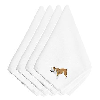 Carolines Treasures  BB3462NPKE English Bulldog Embroidered Napkins Set of 4