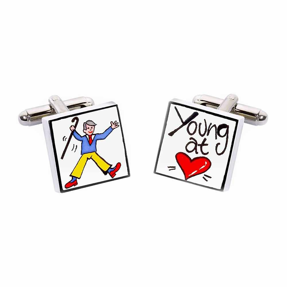 Young at Heart Cufflinks by Sonia Spencer, in Presentation Gift Box. Hand painted
