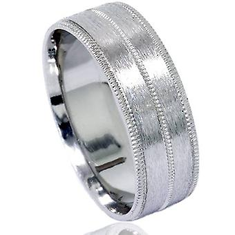 Mens 6mm 950 Palladium Brushed Wedding Band Ring New