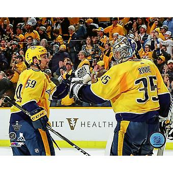 Roman Josi & Pekka Rinne 2017-18 Playoff toiminta Photo Print