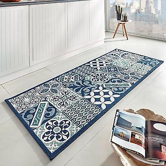Design kitchen Windrunner flat fabric accent tiles look blue 80 x 200 cm