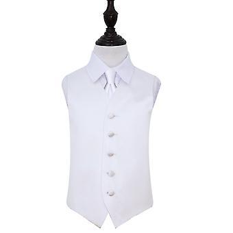 White Plain Satin Wedding Waistcoat & Tie Set for Boys