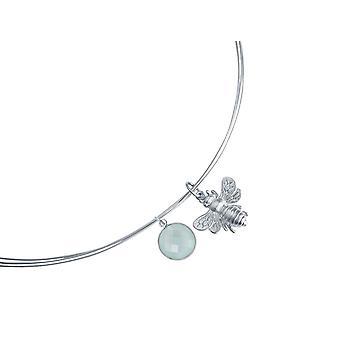 Gemshine Necklace Pendant 925 Silver BEE Bee Chalcedon Sea Green
