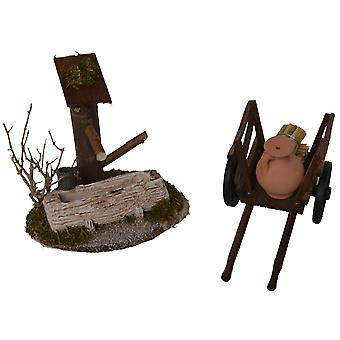 Fountain with water trough + donkey cart for Manger Nativity scene barn accessories