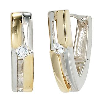 Creolen Ohrhänger 925 Sterling Silber rhodiniert teilvergoldet 2 Zirkonia Ohrringe silber