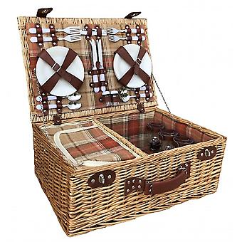 Autumn Red 4 Person Fitted Picnic Basket with Fitted Cooler