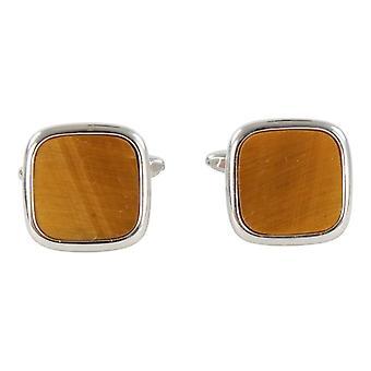 David Van Hagen Tiger Eye Square Cufflinks - Silver/Brown
