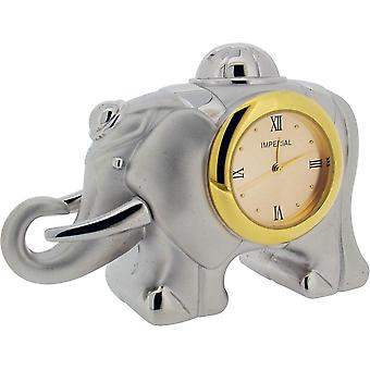 Gift Time Products Elephant Miniature Clock - Silver/Gold