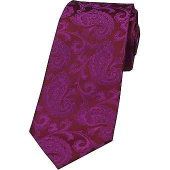 David Van Hagen Paisley Tonal Silk Tie - Deep Fuchsia