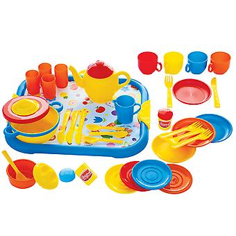 Gowi Toys Dinner Service Set (Blue - 40 Pieces) Pretend Play Set Children Kids