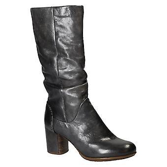 Talons en cuir gris, haute de genou bottes