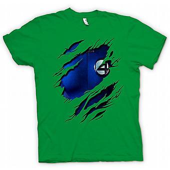 Mens T-shirt - Reed richards Mr Fantastic - Fantastic 4 Costume - Superhero Ripped Design